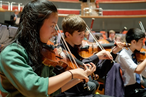 KES:KEHS Symphony Orchestra rehearsing Romany Wood at Symphony Hall (2), violins