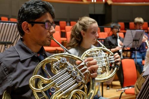 KES:KEHS Symphony Orchestra rehearsing Romany Wood at Symphony Hall (5), horns