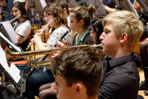 KES:KEHS Symphony Orchestra, reherasing at Symphony Hall, trumpets