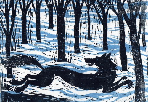 Music at King Edward's School, Birmingham: Peter and the Wolf Linocut by James Mayhew
