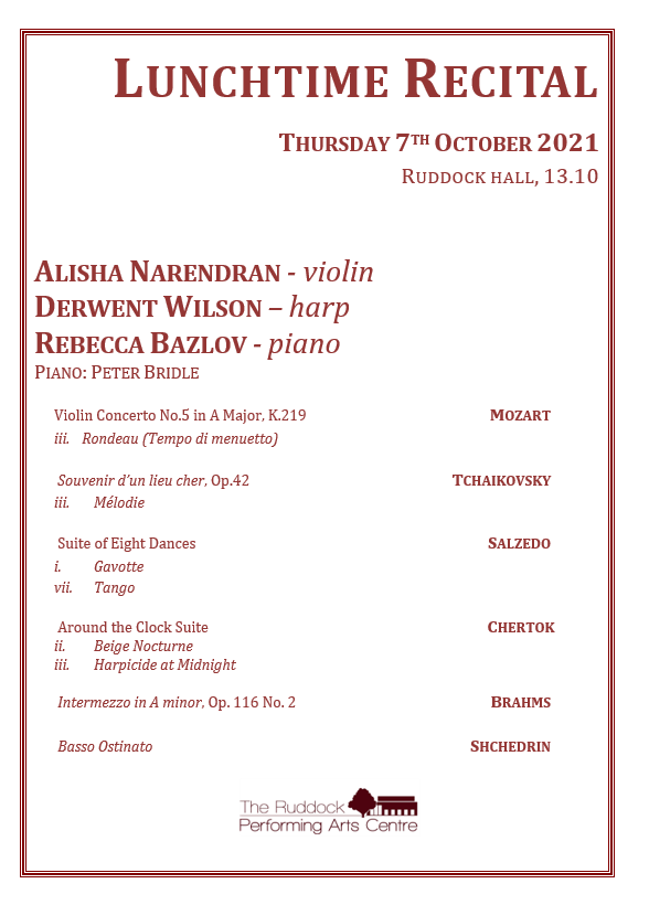 Lunchtime recital programme Thursday 7 October King Edward's School and King Edward VI High School for Girls
