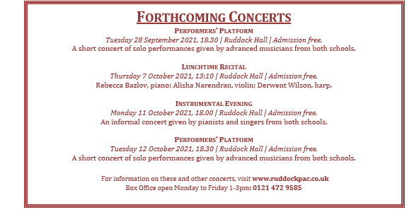 The Miss Margaret Davis Memorial Recital programme 23 September